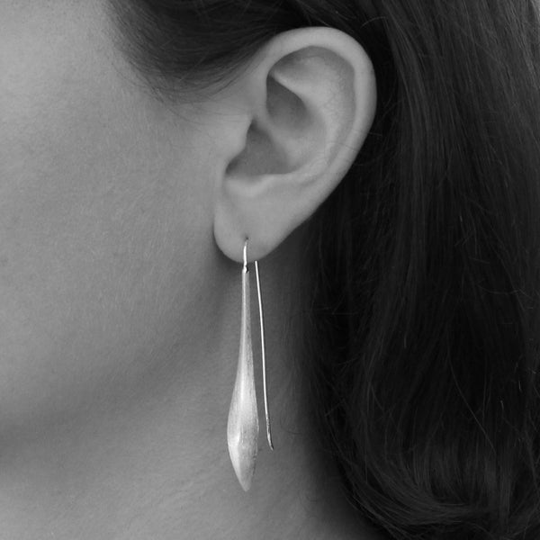 Brushed Gold Vermeil Curved Drop Earrings