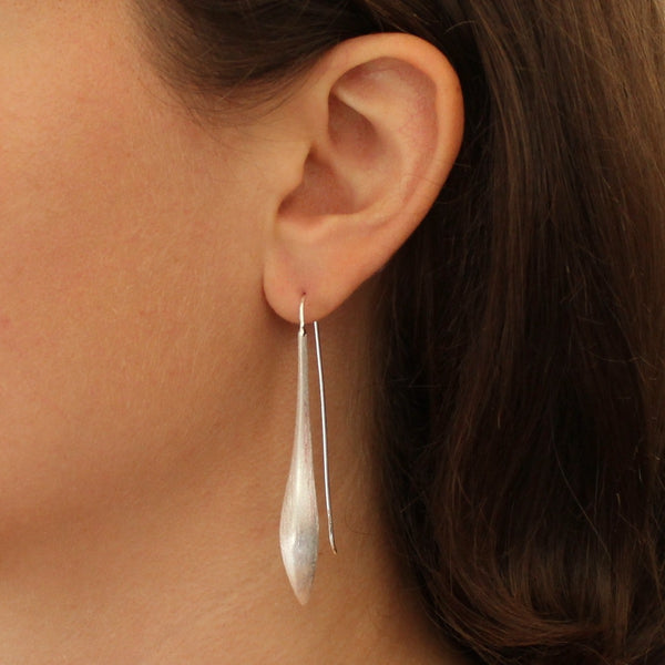 Brushed Silver Curved Drop Earrings