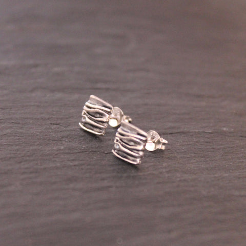Textured Square Stud Earrings in Oxidised Sterling Silver - Beyond Biasa