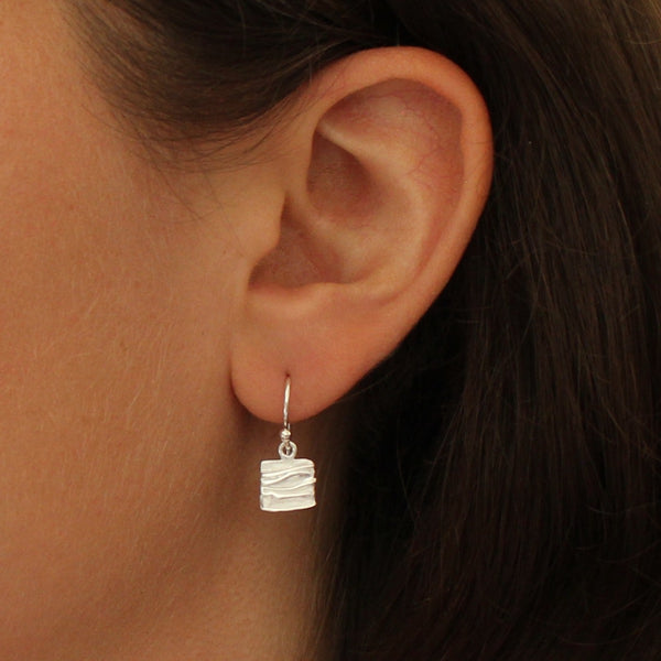 Textured Square Drop Earrings in Sterling Silver or Gold Vermeil