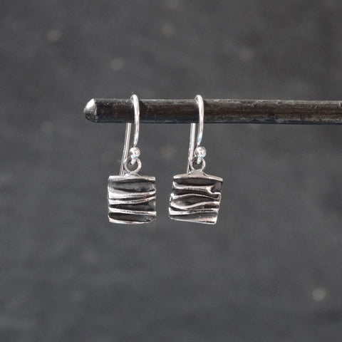 Textured Silver Square Drop Earrings