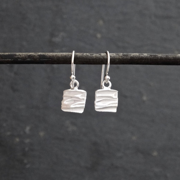 Textured Square Drop Earrings in Sterling Silver or Gold Vermeil - Beyond Biasa