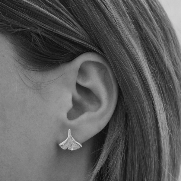 Sterling Silver Flower Petal Stud Earrings