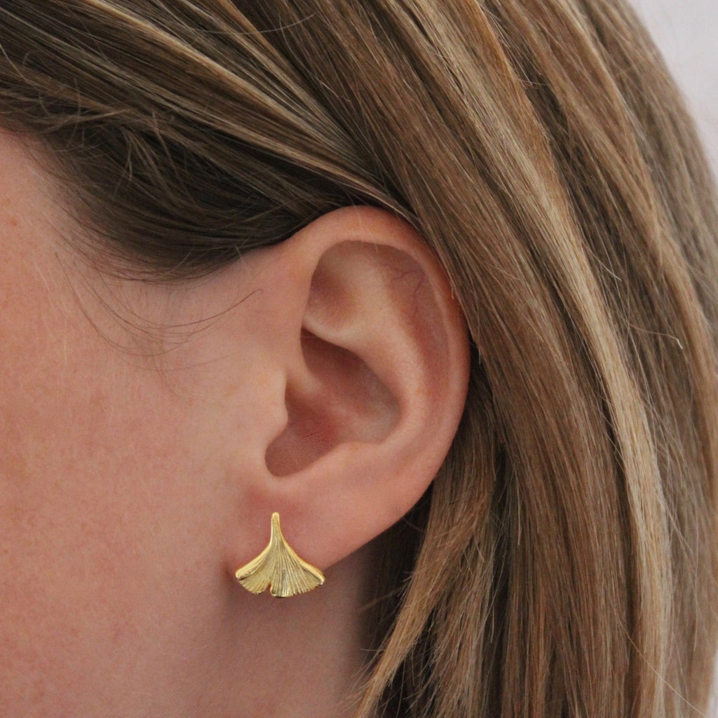 Gold Vermeil Flower Petal Stud Earrings