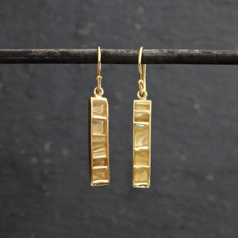 Contemporary Textured Gold Vermeil Drop Earrings - Beyond Biasa