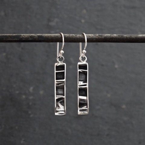 Contemporary Textured Sterling Silver Drop Earrings - Beyond Biasa