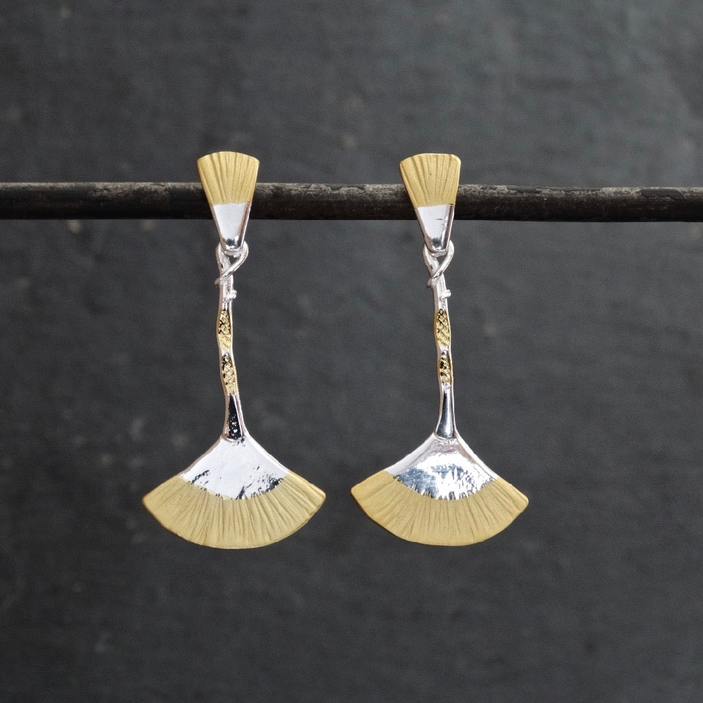Gold and Silver Fan Earrings - Beyond Biasa