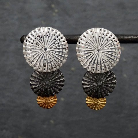 Mixed Metals Textured Disc Earrings - Beyond Biasa