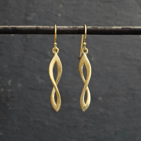 Brushed Gold Vermeil Infinity Twist Earrings - Beyond Biasa