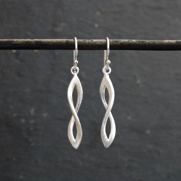 Brushed Sterling Silver Infinity Twist Earrings - Beyond Biasa