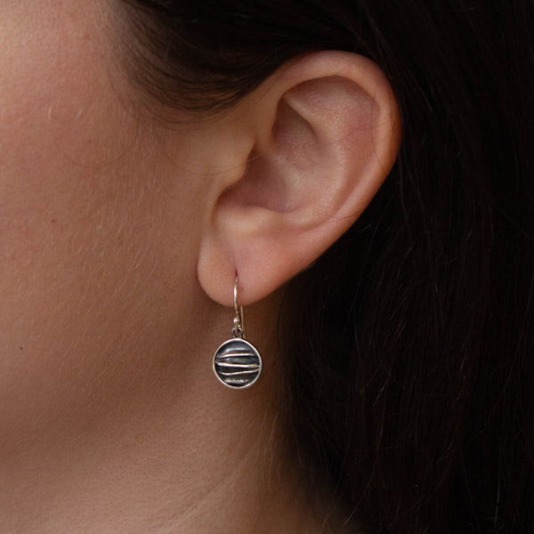 Textured Silver Circle Earrings
