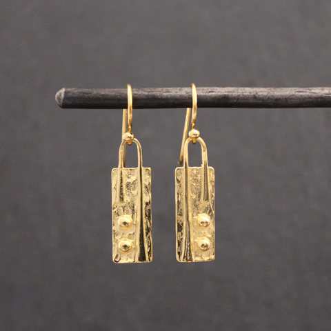 Textured Gold Vermeil Drop Earrings