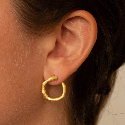 Organic Circle Gold Vermeil Ear Jacket Studs