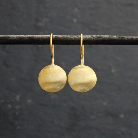 Brushed Gold Vermeil Round Drop Earrings - Beyond Biasa