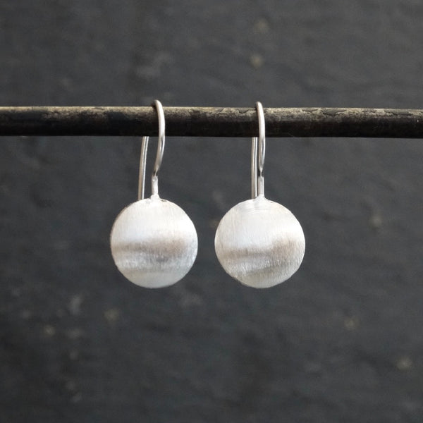 Brushed Sterling Silver Round Drop Earrings - Beyond Biasa