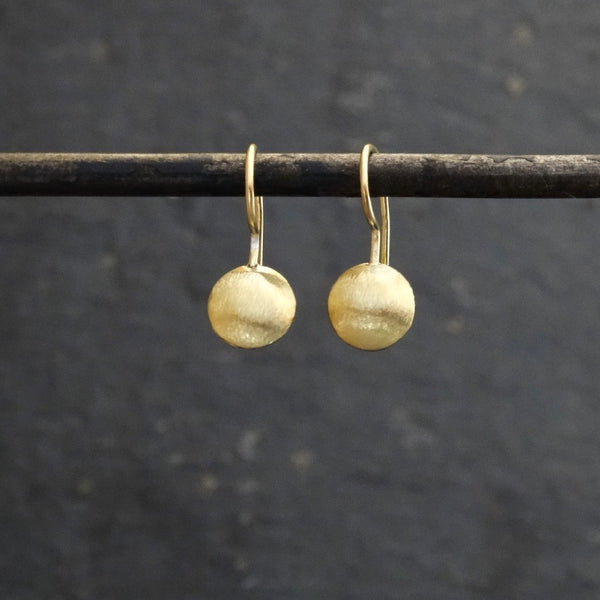 Brushed Round Drop Earrings - Sterling Silver or Gold Vermeil - Beyond Biasa