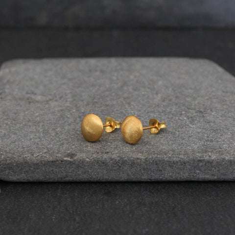 Brushed Gold Vermeil Circle Studs