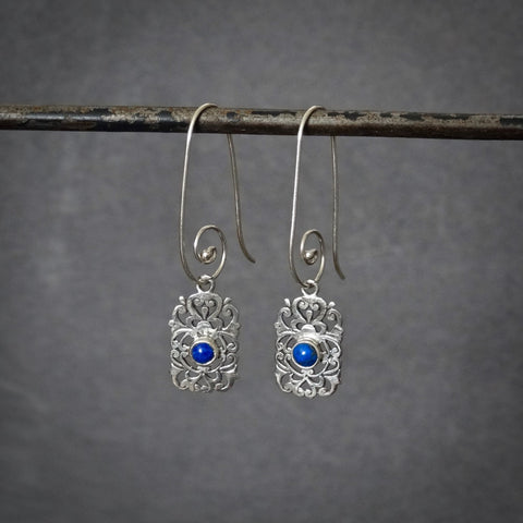Lapis Lazuli and Sterling Silver Filigree Drop Earrings