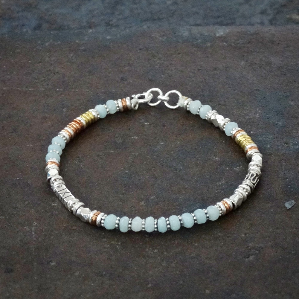Amazonite Bracelet with Sterling Silver Copper and Brass - Beyond Biasa