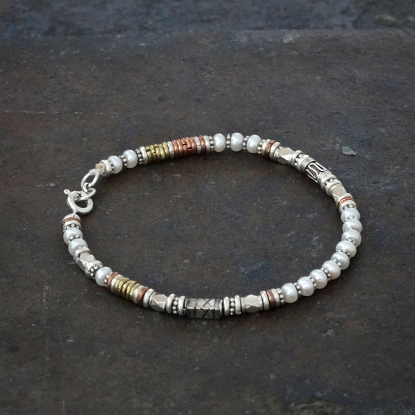 Freshwater Pearl Bracelet with Sterling Silver Copper and Brass - Beyond Biasa