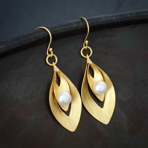 Brushed Gold Vermeil and Freshwater Pearl Curved Drop Earrings