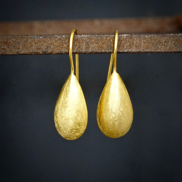 Minimal Teardrop Earrings in Brushed Sterling Silver or Brushed Gold Vermeil - Beyond Biasa