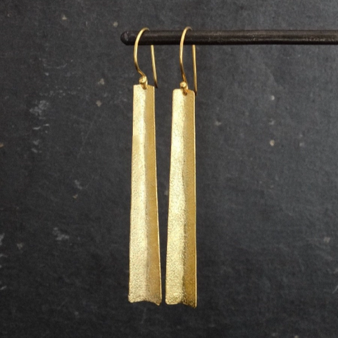 Textured Gold Vermeil Long Earrings