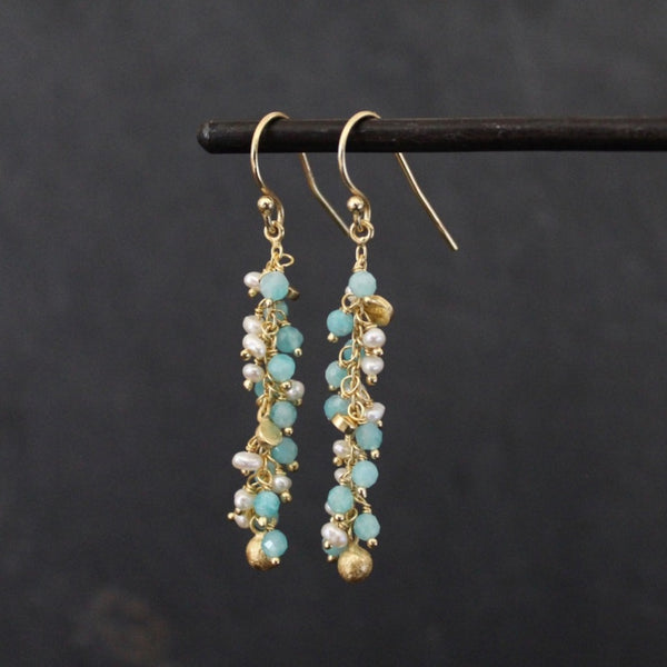 Aqua, Pearl and Gold Vermeil Cluster Earrings - Beyond Biasa
