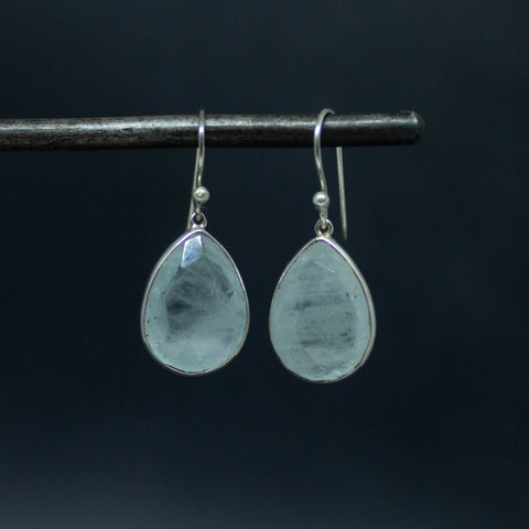 Aquamarine and Silver Teardrop Earrings