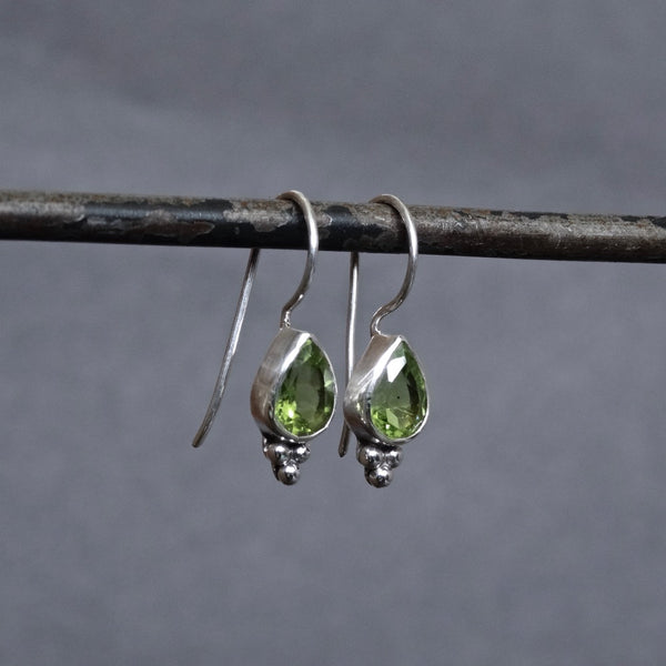 Peridot and Sterling Silver Teardrop Earrings - Beyond Biasa