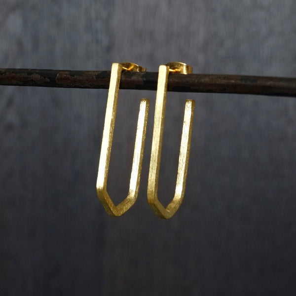Geometric Hoop Earrings in Sterling Silver or Gold Vermeil - Beyond Biasa