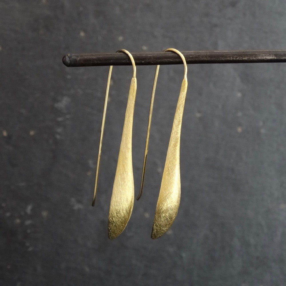 Brushed Gold Vermeil Curved Drop Earrings - Beyond Biasa