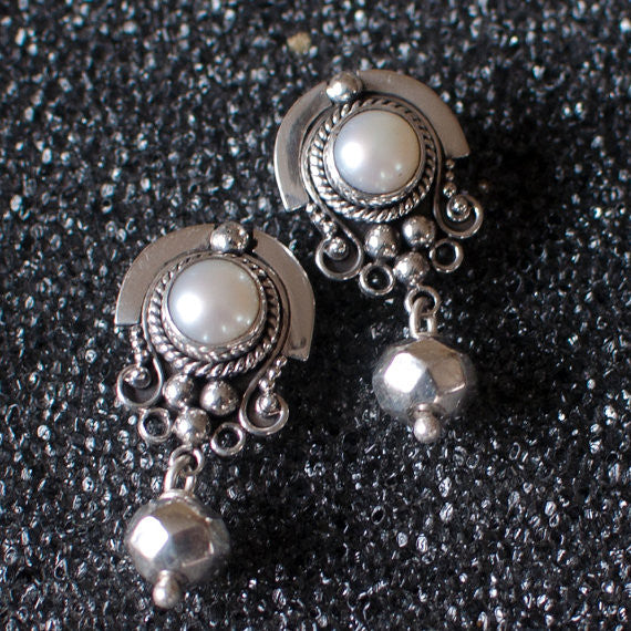 Pearl and Sterling Silver Detail Stud Earrings with Geometric Bead - Beyond Biasa
