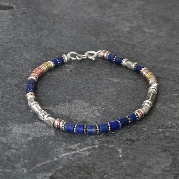 Lapis Lazuli Bracelet with Sterling Silver Copper and Brass - Beyond Biasa