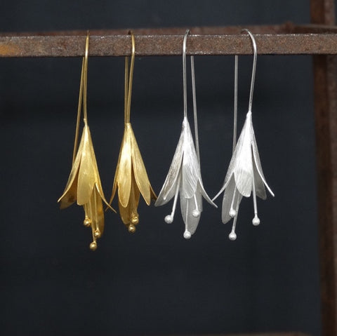 Flower Drop Earrings - Brushed Sterling Silver or Brushed Gold Vermeil - Beyond Biasa