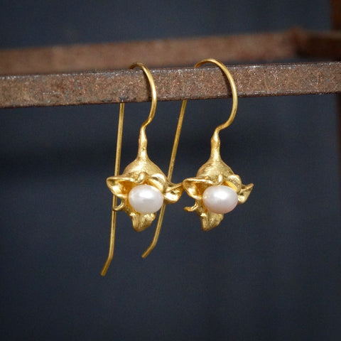 Brushed Gold Vermeil and Freshwater Pearl Flower Drop Earrings