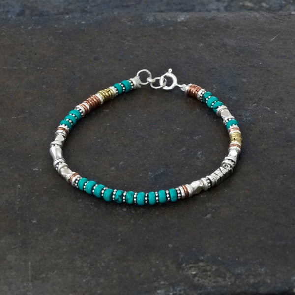 Turquoise Bead Bracelet with Sterling Silver Copper and Brass - Beyond Biasa