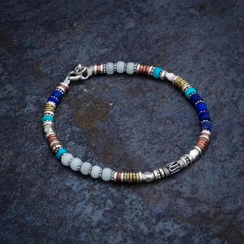 Amazonite, Lapis and Turquoise Bracelet with Sterling Silver Copper and Brass - Beyond Biasa