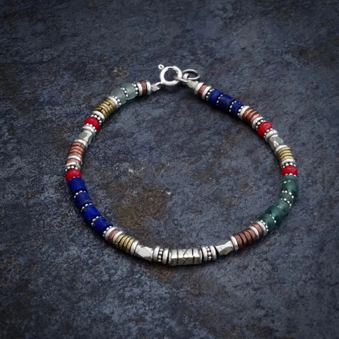 Lapis, Green Glass and Coral Bracelet with Sterling Silver Copper and Brass - Beyond Biasa