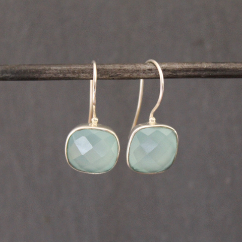 Square Faceted Aqua Chalcedony and Silver Drop Earrings