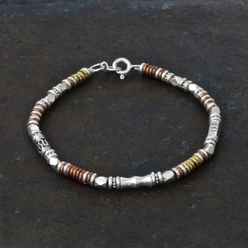 Sterling Silver, Copper and Brass Bead Bracelet - Beyond Biasa