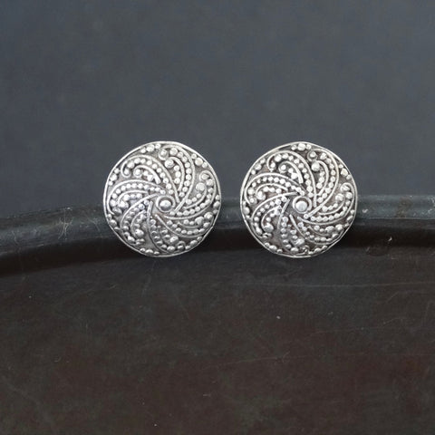 Sterling Silver Granulation Round Stud Earring