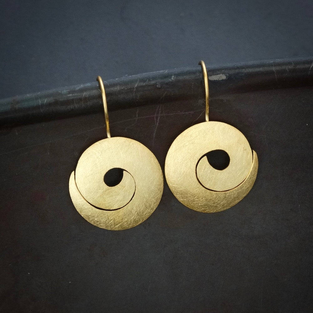 Brushed Gold Vermeil Swirl Drop Earrings - Beyond Biasa