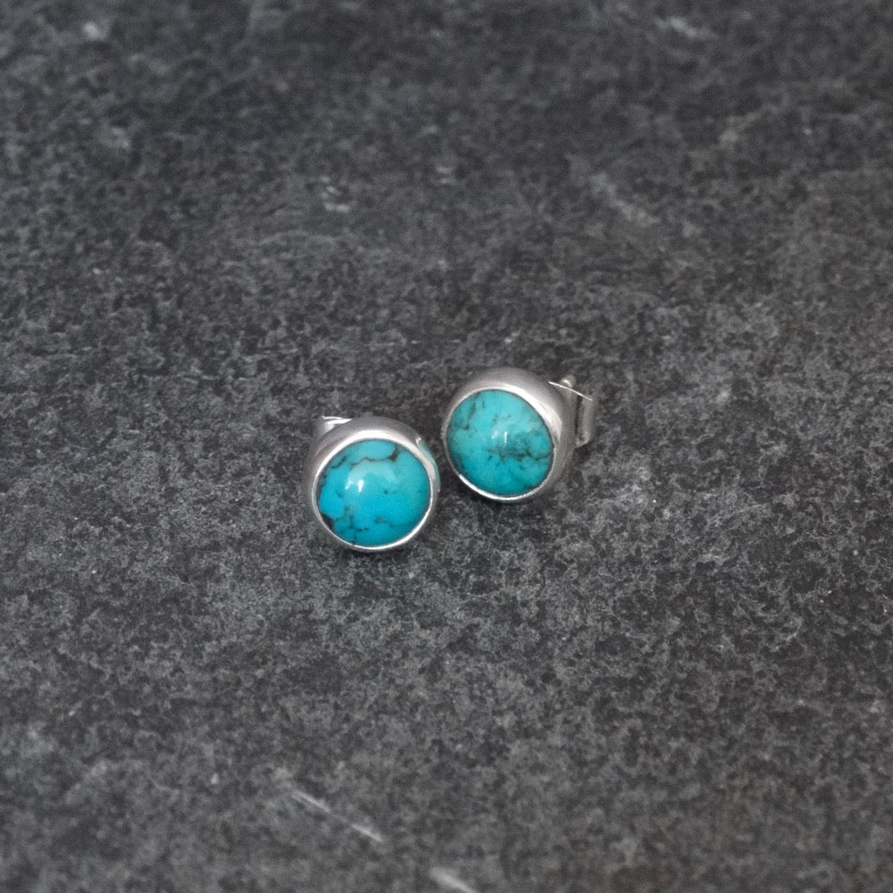 Turquoise and Sterling Silver Round Stud Earrings - Beyond Biasa