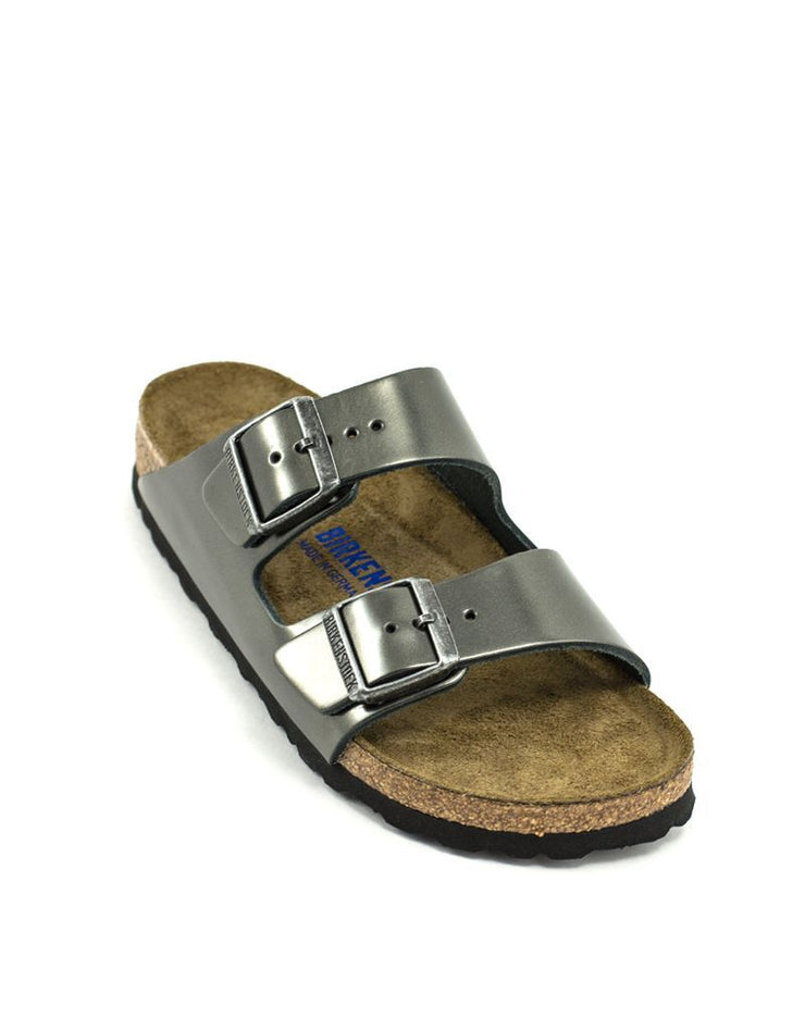 Birkenstock Arizona Metallic Anthracite Leather Soft Footbed Narrow Width