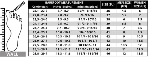 size guide of our recycled material shoes