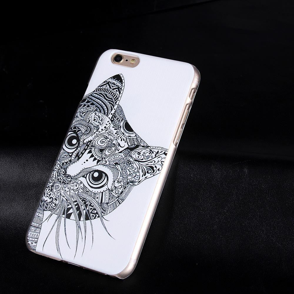 premium selection 3cf2b 338de Cute Cat Case For iPhone 6 6S Fashion Phone Back Skin Cases Black Cat  Painted Hard PC Case Mobile Phone Back Skin Cover 2016