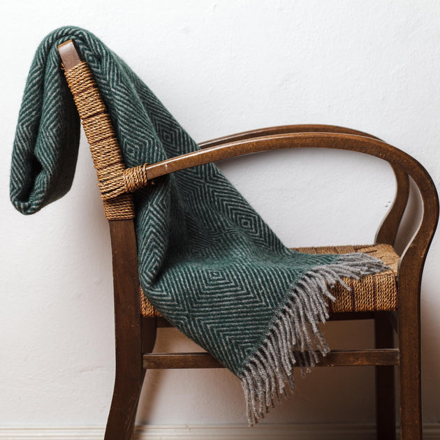 Gotland Dia Wool Blanket in green & grey | Home & Living inspiration | URBANARA