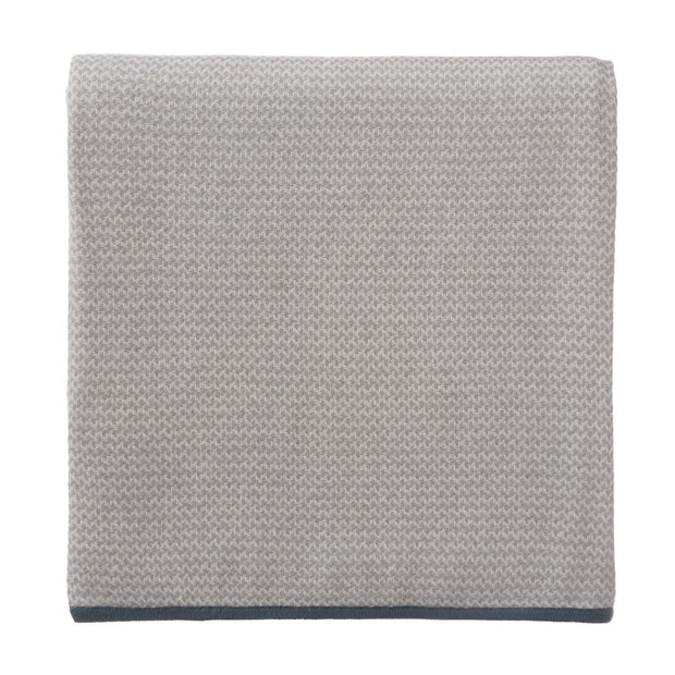 Foligno Cashmere Blanket light grey & cream & soft teal, 100% cashmere wool
