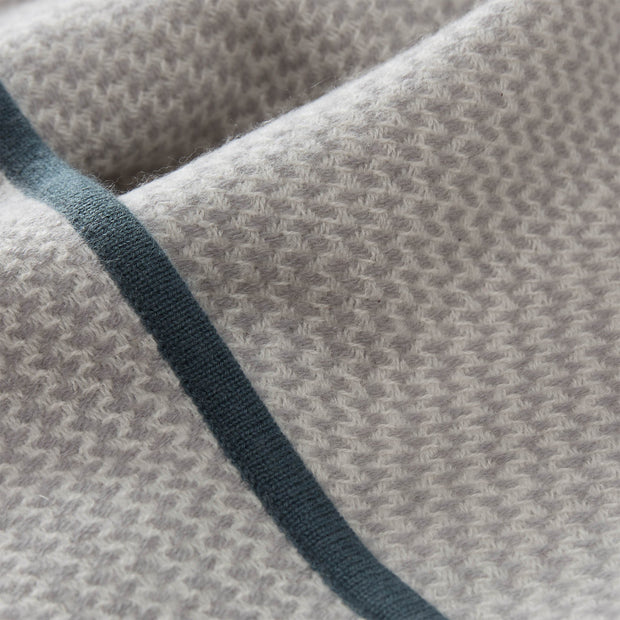 Foligno Cashmere Blanket light grey & cream & soft teal, 100% cashmere wool | URBANARA cashmere blankets